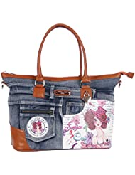Nicole Lee Wanda Denim Print Overnighter with Laptop Compartment, Sunny White, One Size