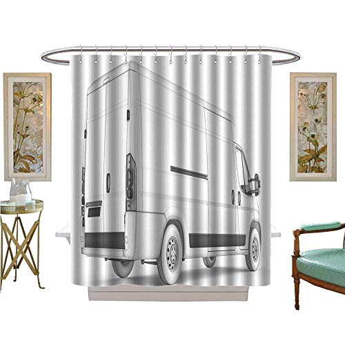 (luvoluxhome Shower Curtains Waterproof Isolated Sketch White Van with White Background Satin Fabric Sets Bathroom W72 x L96)