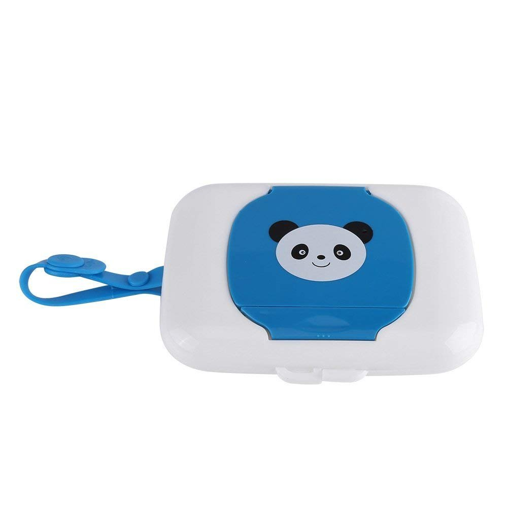 Wet Wipes Storage Case Small Travel Wet Wipes Box Refillable Container for Living Room Bedroom Kitchen Wet Tissue Box (Blue+White)