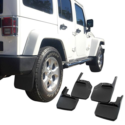 Flap Mud American Flag (Start Off USAuto Front Rear Mud Flaps Molded Splash Guards Black Composite for 2007-2017 Jeep Wrangler(4 pieces))