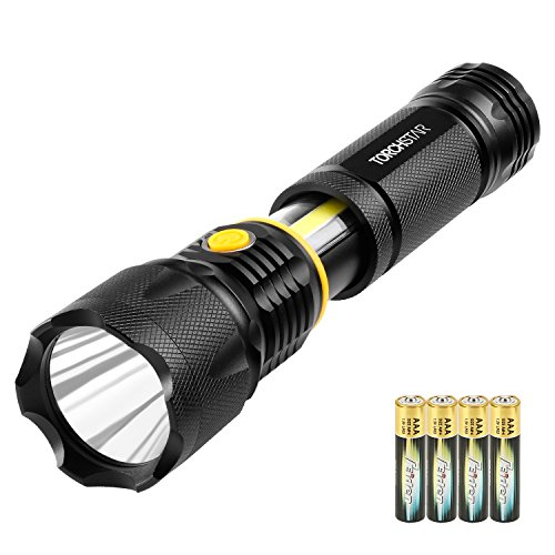 Professional Cree LED Flashlight, High Lumen Zoomable Aluminum Alloy Handheld Body, Water Resistant, Magnetic Base, Battery Operated, Hiking Camping Hunting Search Survival Emergency Torch by TORCHSTAR