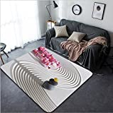 Vanfan Design Home Decorative 134283020 Japan zen garden of meditation with stone and structure in sand Modern Non-Slip Doormats Carpet for Living Dining Room Bedroom Hallway Office Easy Clean Footclo