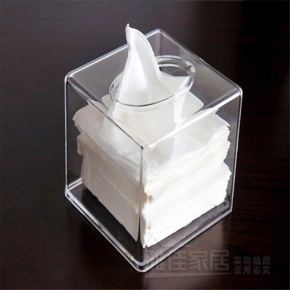 Drop-resistenter Papierhandtuchhalter wasserdicht gepolsterter Serviettenhalter 13x14x12,5 cm schwarz ENXING Kosmetikt/ücherboxen Quadratische Acryl-Taschentuchspender European Transparent