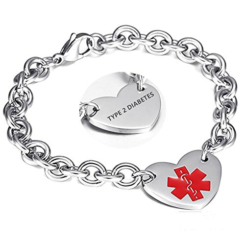 LF 316L Stainless Steel Type 2 Diabetes Engraved Medical Alert Heart Charm Link Bracelet Rolo Chain Medic ID Bracelets Monitoring Awareness for Womens for Outdoor ()