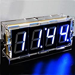 DIY 4 Digit LED Electronic Clock Kit Large Screen Red Blue LED
