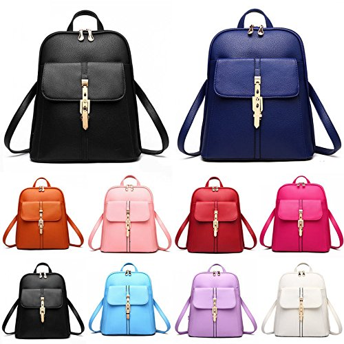 Shoulder School Leather Travel Rucksack Bag Women Backpack Faux Office Satchel White P5qc5ZWf