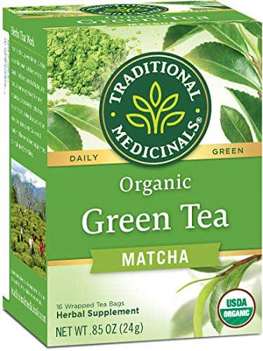 Traditional Medicinals Organic Green Tea Matcha Tea, 16 Tea Bags (Pack of 6)