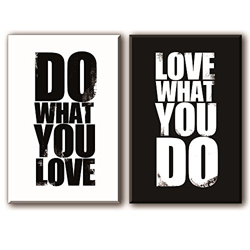 Quotes Wall Art Decor for Bedroom/Office, Well-known Saying Aphorism - DO WHAT YOU LOVE, LOVE WHAT YOU DO, Black and White Inspirational Celebrated Dictum Motto Canvas Prints (with Inner Frame)