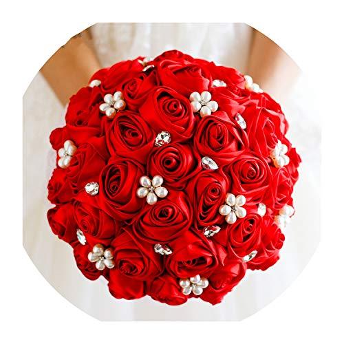 Beaded Wedding Bouquet Rhinestone Crystal Bridal Bouquet Red Satin Silk Rose Flowers Bridesmaid Pearl Blumenstrauss Lady -