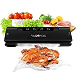 FINDANOR Vacuum Sealer, Automatic Food Sealer Machine with 15pcs Saver Bags for Food Preservation, Compact Design,Dry & Moist Food Modes, Wine Vacuum Sealer with Free Plug.