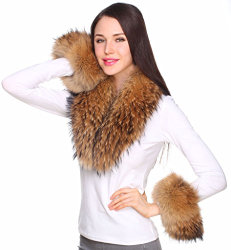 Ferand Women's Real Raccoon Fur Collar Scarf with 2 Matching Cuffs for Parka Jacket Winter Coat in Dark Natural Color,31.5 inch by Ferand (Image #2)
