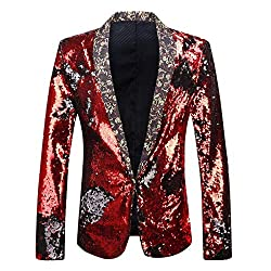 Red & Silver Sequins Two Color Conversion Blazer