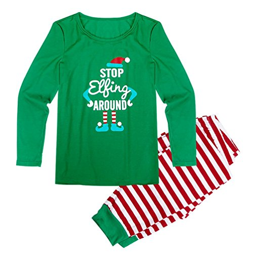 Christmas Family Stripe Clothing Father Mother and Me Jumpsuit Pajamas for Xmas ,Aritone Family Pajamas Christmas Sleepwear Two-pieces Outfits (Father(L), Green)