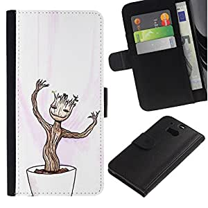 NEECELL GIFT forCITY // Billetera de cuero Caso Cubierta de protección Carcasa / Leather Wallet Case for HTC One M8 // Feliz Divertido Bonsai