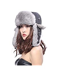 AoDao Rabbit Fur Hat Pilot Hat Autumn and Winter Keep Warm
