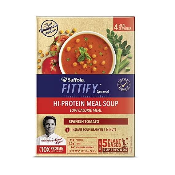 Saffola FITTIFY Gourmet Hi Protein Meal-Soup - 212 g (Spanish Tomato, 4 Servings)