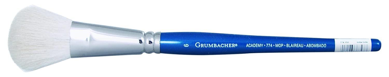 Grumbacher Academy Watercolor Round Mop Brush, White Nylon Bristles, 1-1/2