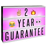 A4 Cinematic Colour Change Lightbox | 205 Letters & Emoji | Multicoloured LED Remote Controlled Light Up Box Sign | Battery or USB Powered | M&W