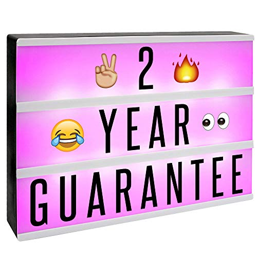 A4 Cinematic Colour Change Lightbox | 205 Letters & Emoji | Multicoloured LED Remote Controlled Light Up Box Sign | Battery or USB Powered | M&W ()