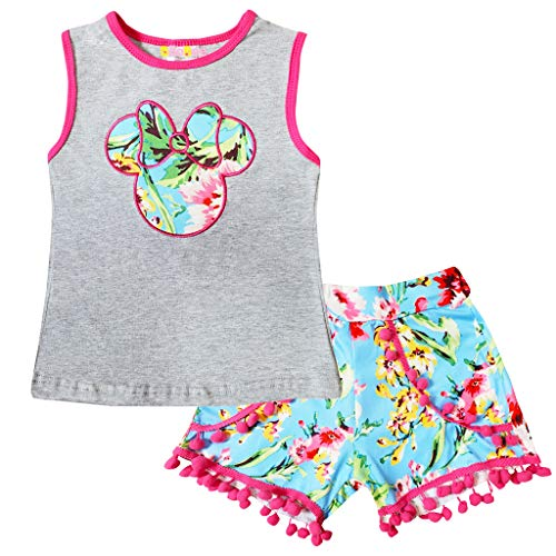 Boutique Little Girls Disneyland Trip Mickey Minnie Mouse Tank Top Pom Pom Short Set Gray 4/L