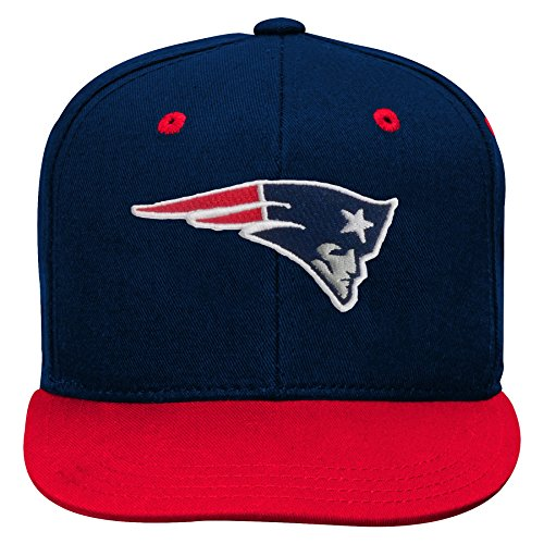 NFL by Outerstuff NFL New England Patriots Kids 2-Tone Flat Visor Snapback Hat Dark Navy, Kids One Size