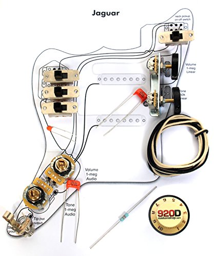 Fender Vintage '62 Jaguar Wiring Kit - Pots Switch Slider Caps Bracket Diagram ()
