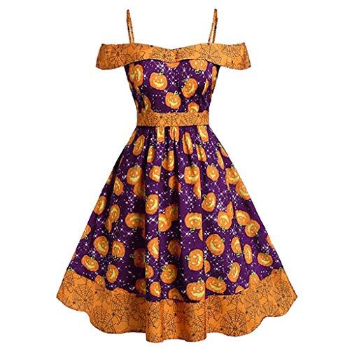 Kauneus Women's Sexy Off Shoulder Blingbling Pumpkin Print Cocktail Dress Halloween Party Dress Gown Purple