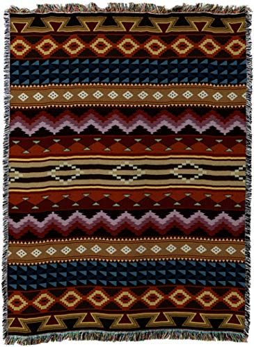 - Pure Country Weavers - Yuma Southwest Geometric Woven Tapestry Throw Blanket for couch bed or chair with Fringe Made In The USA Size 72 x 54