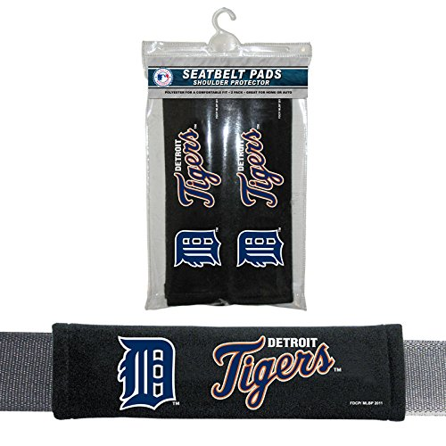 MLB Detroit Tigers Seat Belt Pad (Pack of 2), One Size, White