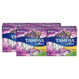 Tampax Radiant Plastic Tampons, 18 Regular/14 Super Absorbency Multipack, Unscented, 32 Count, Pack of 4 (Total 128 Count)