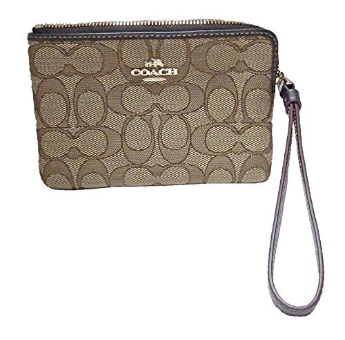 (Coach F58033 Signature Corner Zip Wristlet Khaki/Brown)