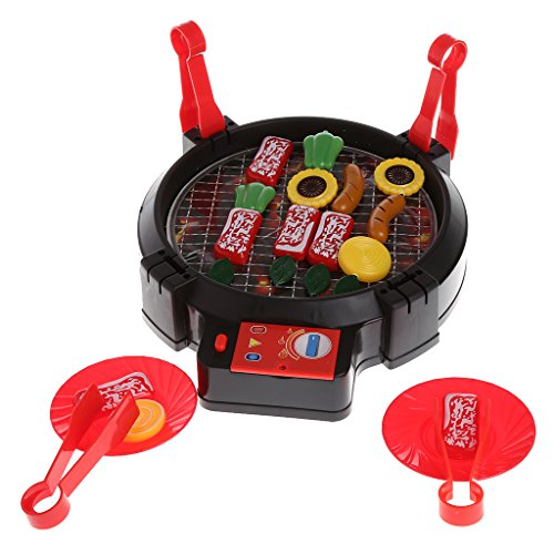 Price comparison product image Yoohigh Kid Pretend Play Barbecue Playset Simulation Kitchen Electric BBQ Toy with Light