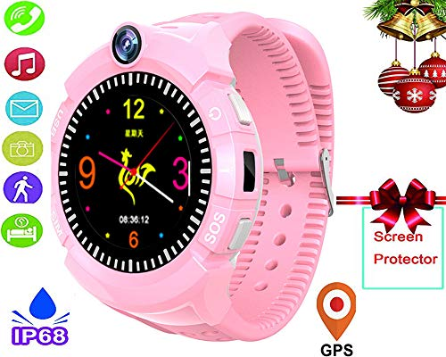 Teléfono móvil con reloj inteligente para niños - Rastreador de GPS Reloj con reloj para niños a prueba de agua, con...