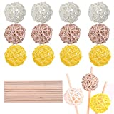 WXJ13 30 PCS 5cm Rattan Wicker Balls Vase Fillers Balls with 15cm Bamboo Sticks, for Home Decoration Aromatherapy Accessories Wedding Ornaments