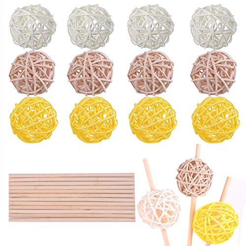 (WXJ13 30 PCS 5cm Rattan Wicker Balls Vase Fillers Balls with 15cm Bamboo Sticks, for Home Decoration Aromatherapy Accessories Wedding Ornaments)