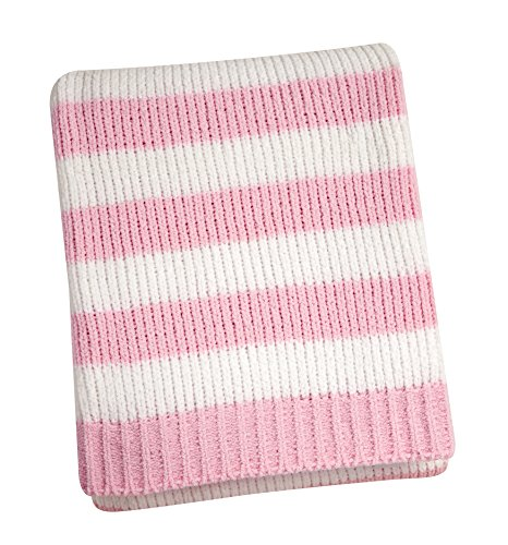 Nautica Kids Nursery Separates Striped Super Soft Chenille Blanket, Pink/White