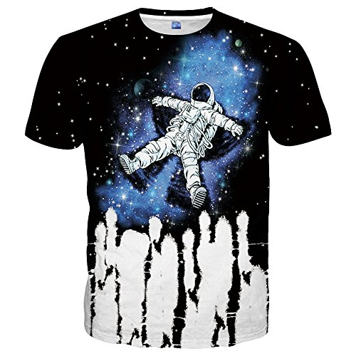 Hgvoetty Unisex Cool Space Shirts 3D Printed Graphic T-Shirts for Men Women Small ()