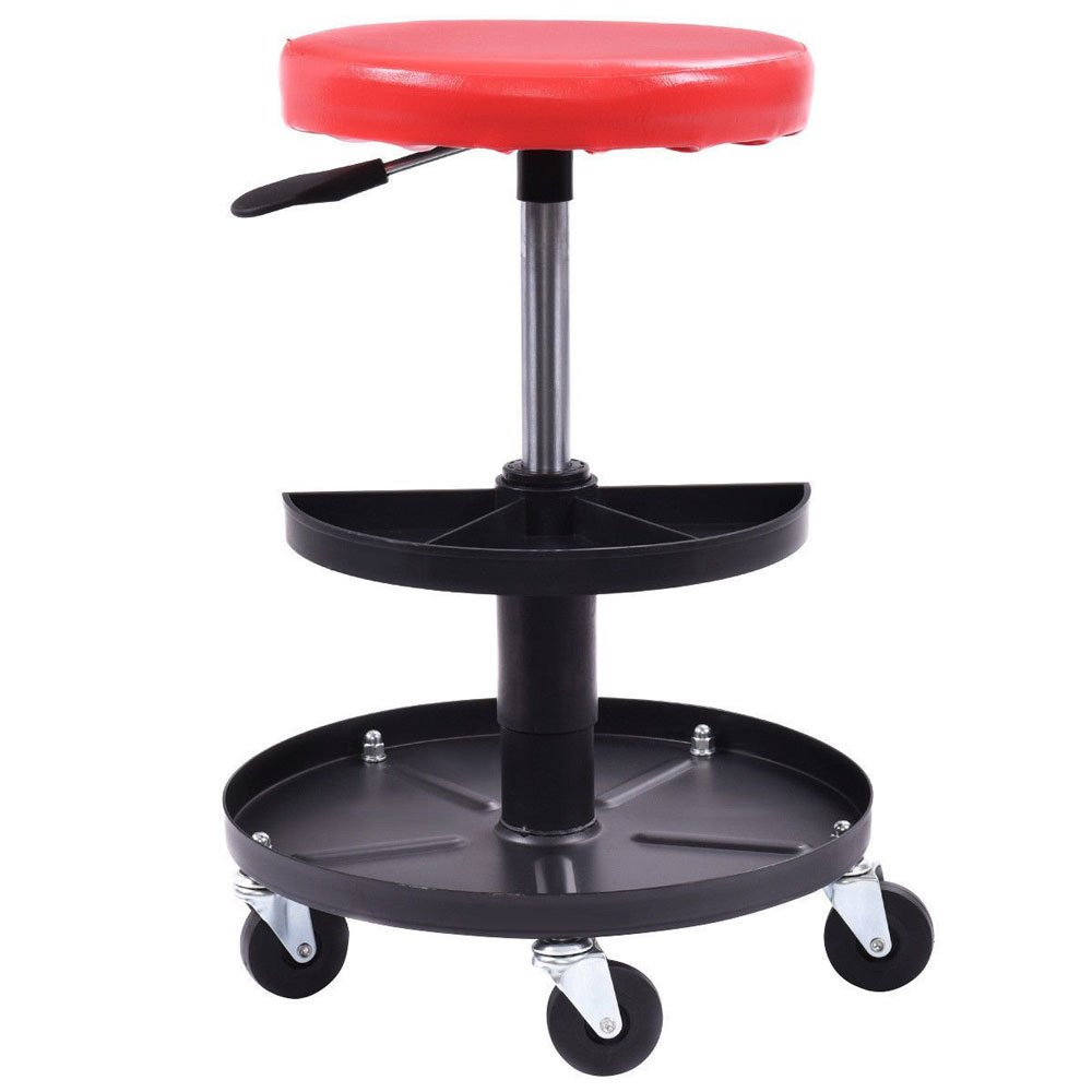 Adjustable Mechanics Creeper Seat Rolling Stool Pneumatic Chair Tray Padded Repair Shop Garage w/ 300 lbs Capacity