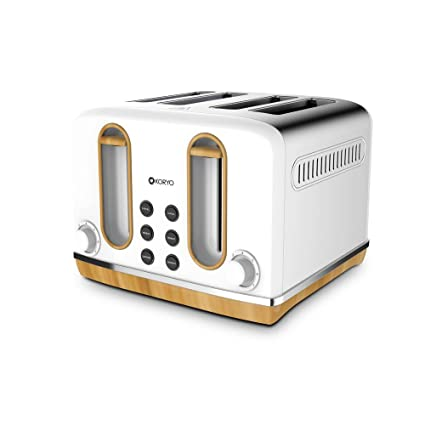 Koryo Stainless Steel 4 Slice Pop Up Toaster, 1lb(White, Kpt4105bss)