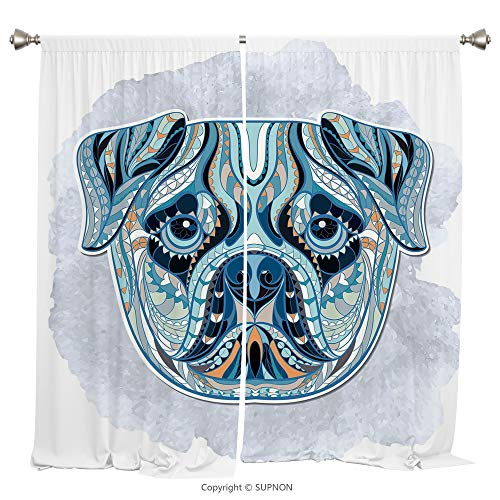 Rod Pocket Curtain Panel Thermal Insulated Blackout Curtains for Bedroom Living Room Dorm Kitchen Cafe/2 Curtain Panels/55 x 45 Inch/Pug,Tribal Ethnic Patterned Head of a Dog Various Geometrical Shape - Cup Rose Prairie