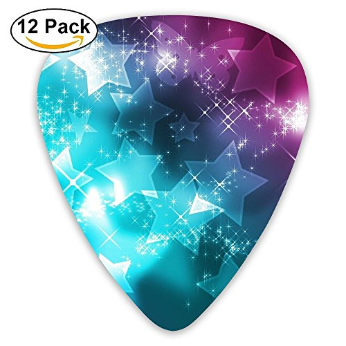 SLADDD1 Stars Classic Stylish Colorful Guitar Picks Plectrums For Electric Guitar, Acoustic Guitar, Mandolin, And Bass - 12 Pack ()