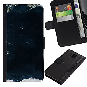 Billetera de Cuero Caso del tirón Titular de la tarjeta Carcasa Funda del zurriago para Samsung Galaxy Note 3 III N9000 N9002 N9005 / Business Style View Sea Land Ocean Waves