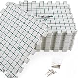 Craftolino Blocking Mats for Knitting - 9 Extra Thick Boards With 1 Inch Spaced Grid - For Needlepoint or Crochet - With 100 T-Pins and Convenient Storage Bag With Handles