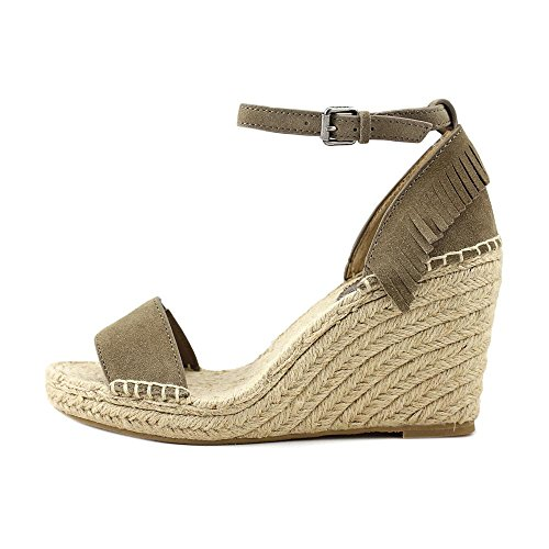 FRYE Womens Lila Feather Espadrille Wedge Sandal Grey Oiled Suede DAh4Nn3