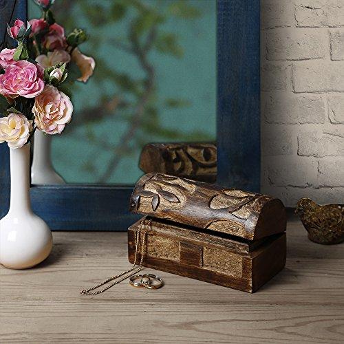 Rustic Wooden Jewelry Trinket Keepsake Storage Box Chest Organizer with