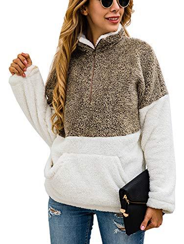 TEMOFON Women's Long Sleeve Zipper Fleece Jacket Sherpa Pullover Winter Outwear Sweatshirt Coatwith Pockets Coffee M