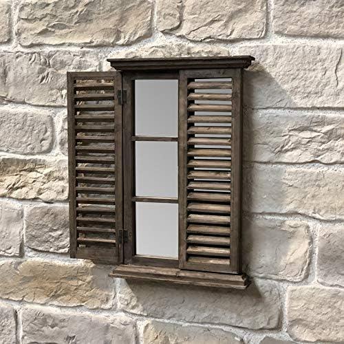 chemin/_de/_campagne Specchio in legno con finestra persiana 71,50 x 47 cm