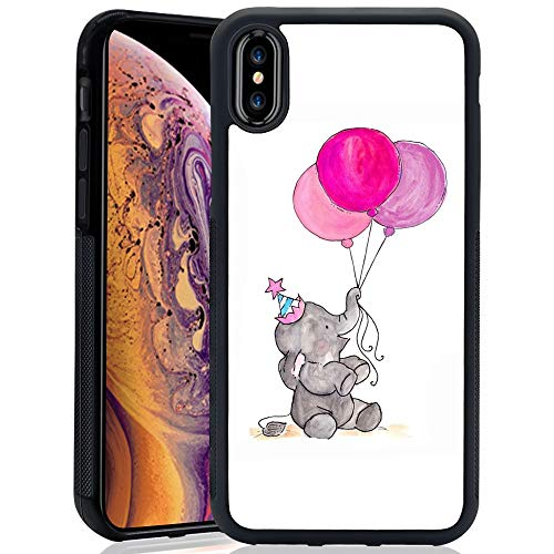 Elephant Balloon iPhone Xs ChyFS Phone Case Black Protective Case for iPhone Xs 5.8(2018 Release) -