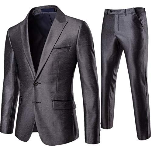 AOWOFS Men's Double Button Suit Lapel Fashion Lattice Slim 2 Piece Suit Jacket Pants (Small) Grey