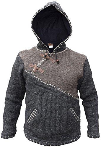 Charcoal diagonal tejida capucha del de Sudadera Festival en Brown con lana Mix fabricada cierre y Invierno con natural xBpwwaRqY